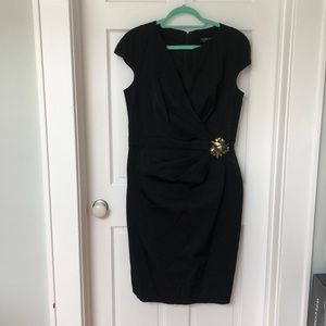Black cocktail dress with Brooch